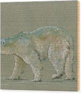 Polar bear original watercolor painting art Wood Print