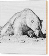 Polar Bear Protects Her Young Wood Print