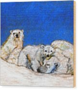 Polar Bears With Love Wood Print