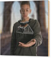 Polaroid Sx-70 On The Brooklyn Bridge Wood Print
