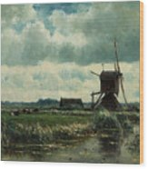 Polder Landscape With Windmill Near Aboude Wood Print