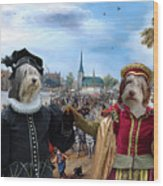Polish Lowland Sheepdog Art Canvas Print - Prince And Princess Of Orange Wood Print