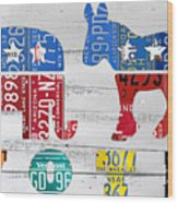Political Party Election Vote Republican Vs Democrat Recycled Vintage Patriotic License Plate Art Wood Print