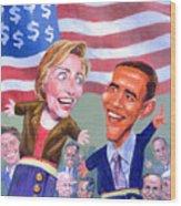 Political Puppets Wood Print