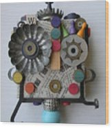 Polka Dot Girl Wood Print by Jen Hardwick