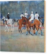 Polo Horses Painting Wood Print