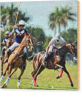 Polo Players And Ponies Wood Print