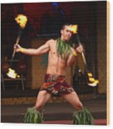 Polynesian Fire Dancing Wood Print