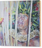 Polynesian Maori Warrior With Spears Wood Print