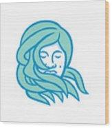 Polynesian Woman Flowing Hair Mascot Wood Print