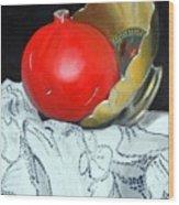 Pomegranate And Pot Wood Print by Kostas Koutsoukanidis
