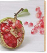 Pomegranate And Seeds  Wood Print