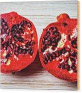 Pomegranate Cut In Half Wood Print
