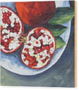 Pomegranates On A Plate  Wood Print