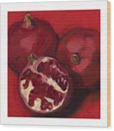 Pomegranite Trio Wood Print