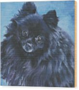 Pomeranian Black Wood Print by Lee Ann Shepard