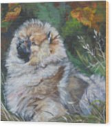 Pomeranian Puppy Autumn Leaves Wood Print