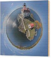 Pomham Rocks Lighthouse Little Planet Wood Print