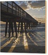 Pompano Beach Fishing Pier At Sunrise Florida Sunrays Wood Print