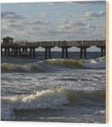 Pompano Beach Fishing Pier At Sunrise Florida Sunrise Waves Wood Print