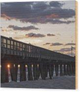 Pompano Beach Fishing Pier At Sunrise Florida Wood Print