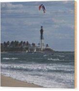 Pompano Beach Kiteboarder Hillsboro Lighthouse Catching Major Air Wood Print