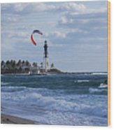 Pompano Beach Kiteboarder Hillsboro Lighthouse Wood Print