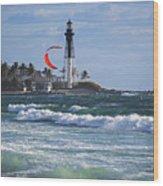 Pompano Beach Kiteboarder Hillsboro Lighthouse Waves Wood Print