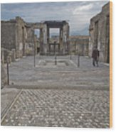 Pompeii View With Mosaic Wood Print
