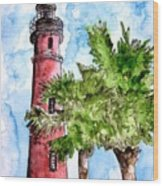 Ponce De Leon Inlet Florida Lighthouse Art Wood Print