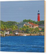 Ponce Inlet Waterfront And Lighthouse Wood Print