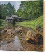 Pond At Mabry Mill Wood Print