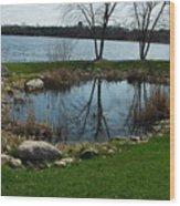 Pond By The Lake Wood Print