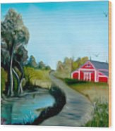 Pond By The Red Barn Dreamy Mirage Wood Print