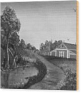 Pond By The Red Barn In Black And White Wood Print