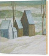 Pond Farm In Winter Wood Print