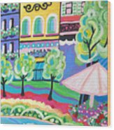 Pond Garden Boutiques On The Avenue Wood Print
