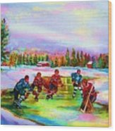Pond Hockey Blue Skies Wood Print
