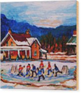 Pond Hockey Wood Print