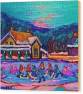 Pond Hockey Two Wood Print