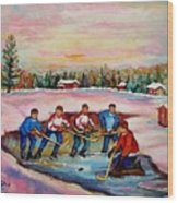 Pond Hockey Warm Day Wood Print
