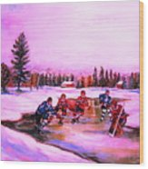 Pond Hockey Warm Skies Wood Print