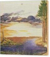 Pond In The Wood Wood Print