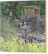Pond Statue Wood Print