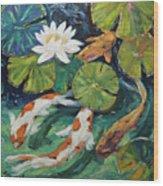 Pond Swimmers Koi Wood Print