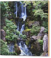 Pond Waterfall Wood Print