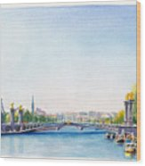 Pont Alexandre IIi Or Alexander The Third Bridge Over The River Seine In Paris France Wood Print