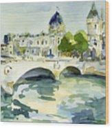 Pont De Change Watercolor Paintings Of Paris Wood Print