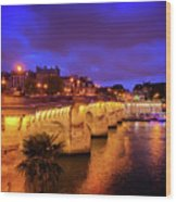 Pont Neuf At Night Wood Print