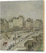 Pont Neuf Snow Effect Wood Print